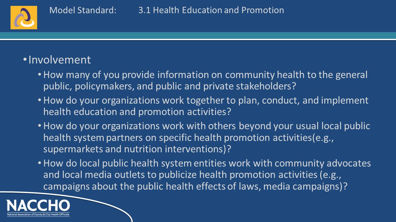 Model Standard: Involvement How many of you provide information on community health to the general public, policymakers, and public and private stakeholders.
