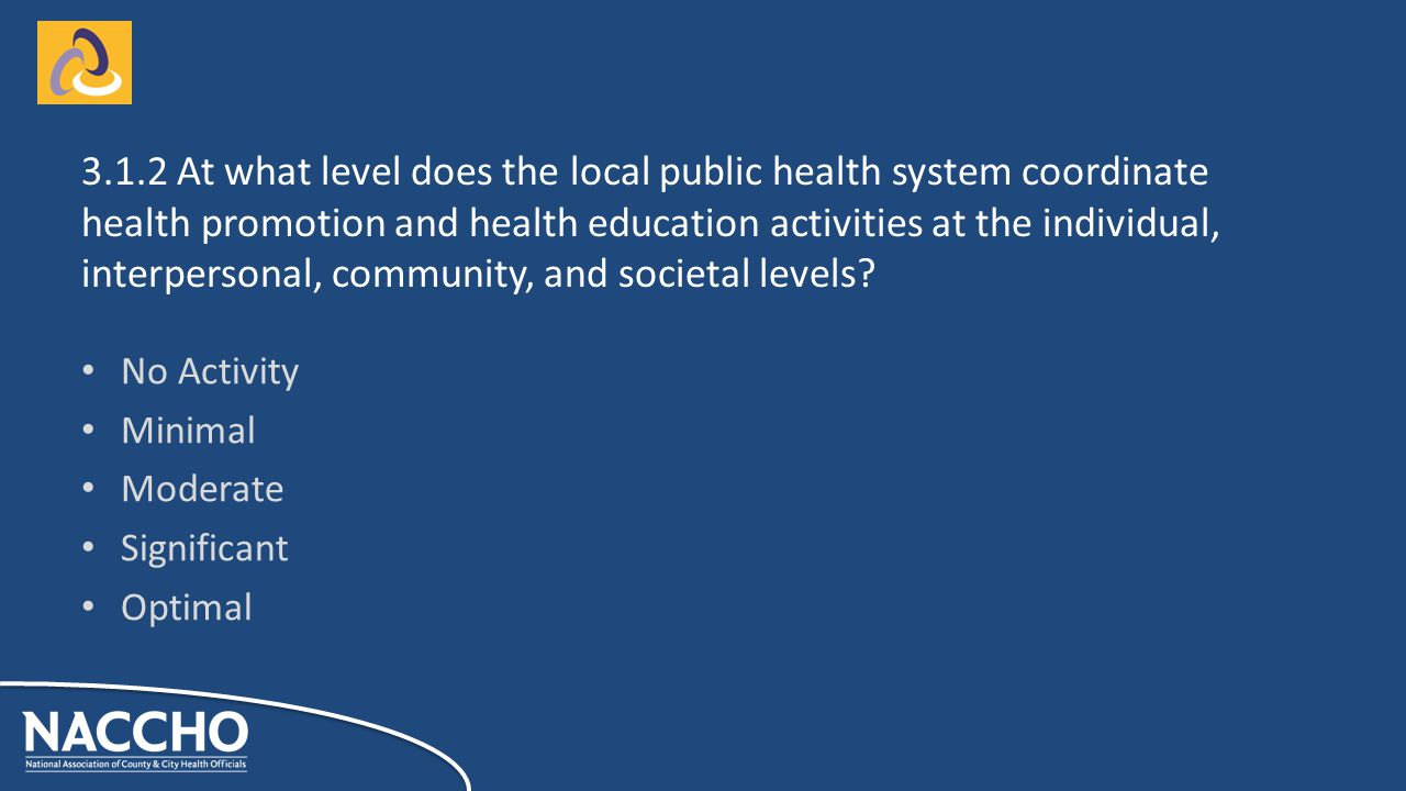 No Activity Minimal Moderate Significant Optimal At what level does the local public health system coordinate health promotion and health education activities at the individual, interpersonal, community, and societal levels