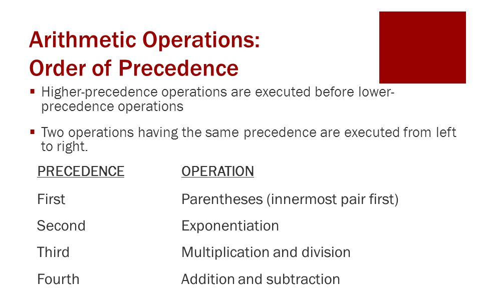 Arithmetic Operations: Order of Precedence  Higher-precedence operations are executed before lower- precedence operations  Two operations having the same precedence are executed from left to right.