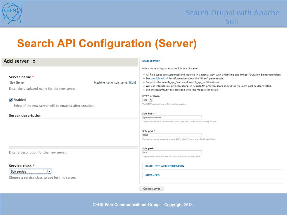 Search Search Drupal with Apache Solr with CERN Web