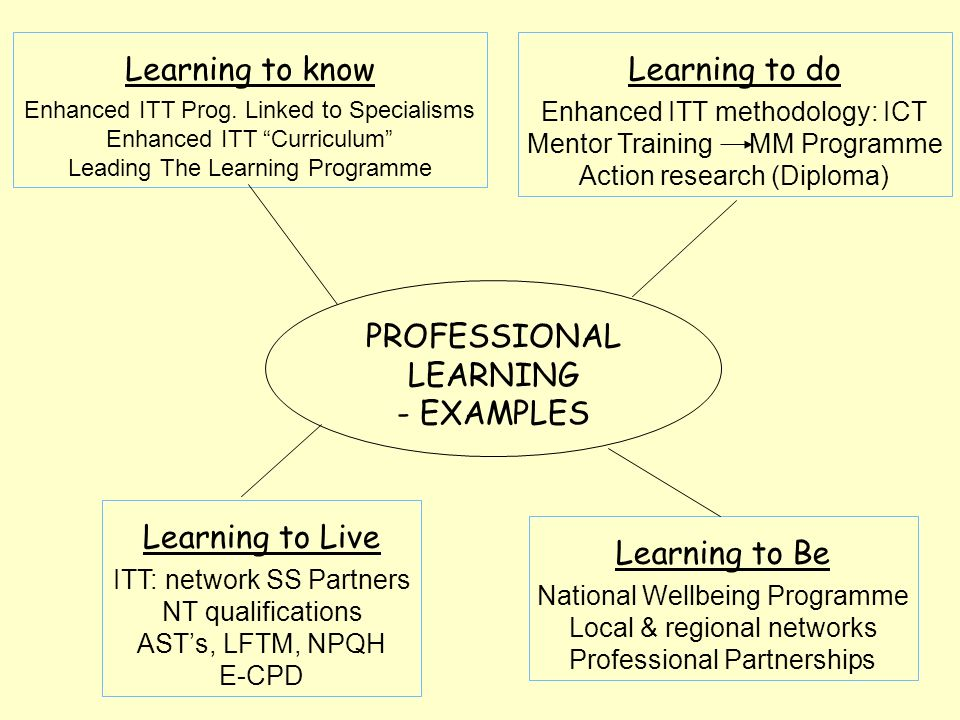 PROFESSIONAL LEARNING - EXAMPLES Learning to know Enhanced ITT Prog.