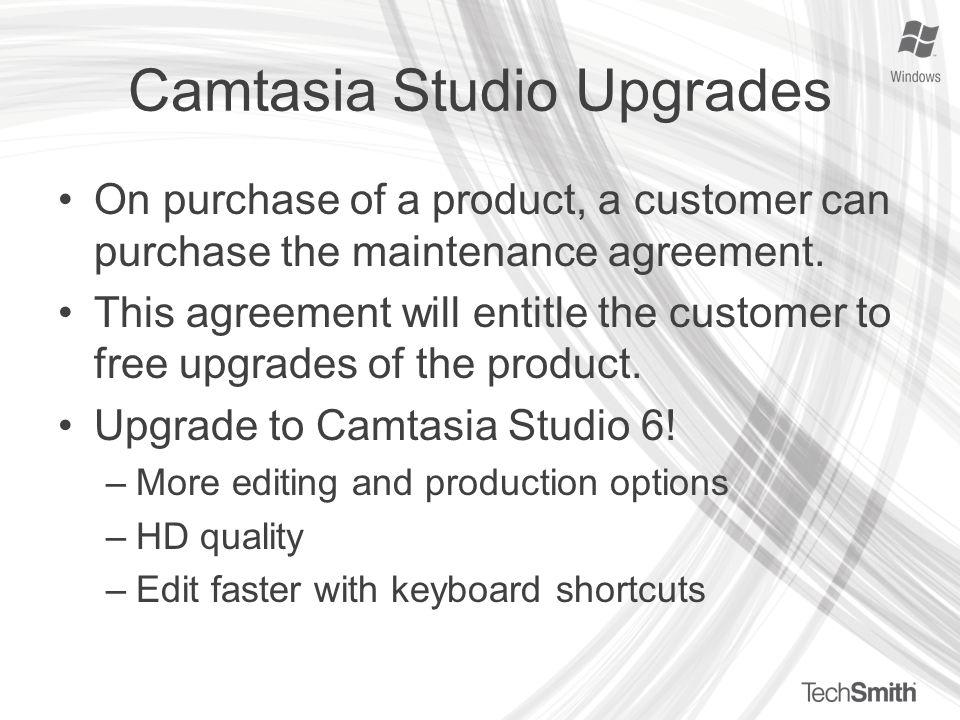 camtasia upgrade maintenance