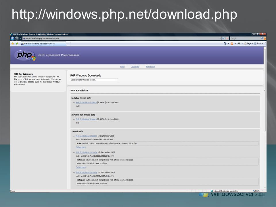 PHP on Windows Overview  AGENDA MS Support for PHP community