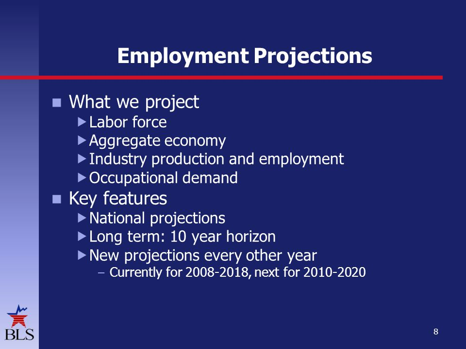 Employment Projections What we project  Labor force  Aggregate economy  Industry production and employment  Occupational demand Key features  National projections  Long term: 10 year horizon  New projections every other year – Currently for , next for