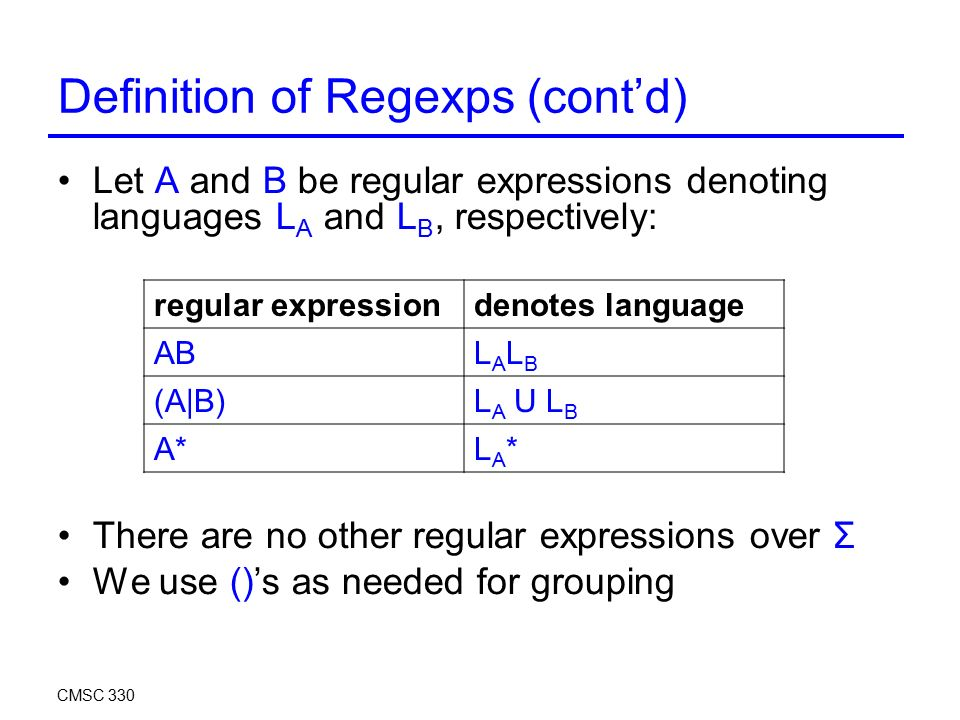 Definition of Regexps (cont'd) Let A and B be regular expressions denoting languages L A and L B, respectively: There are no other regular expressions over Σ We use ()'s as needed for grouping CMSC 330 regular expressiondenotes language ABLALBLALB (A|B)L A U L B A*LA*LA*
