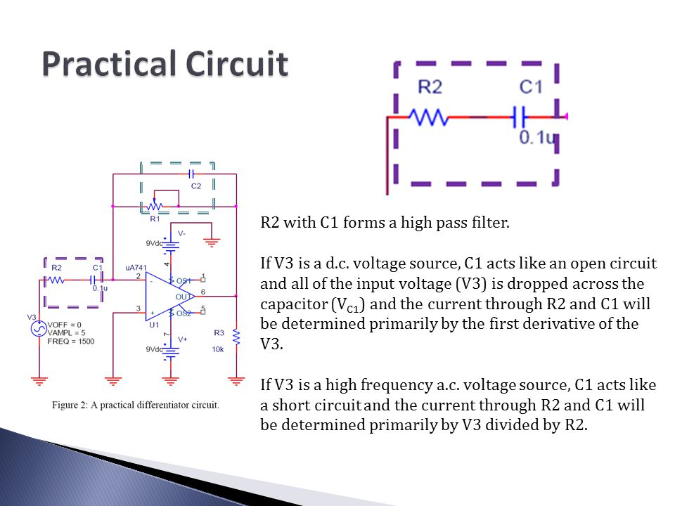 a differentiator circuit all of the diagrams use a ua741 op amp rh slideplayer com