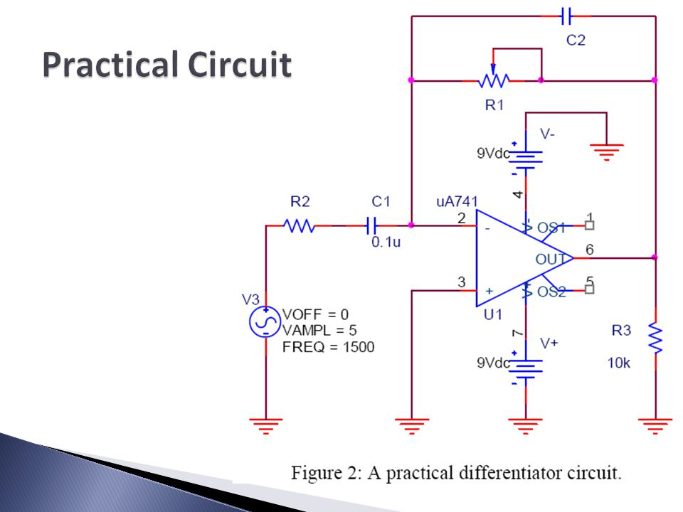 A Differentiator Circuit   All of the diagrams use a uA741