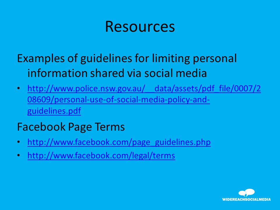 39 examples of guidelines for limiting personal information shared via social media