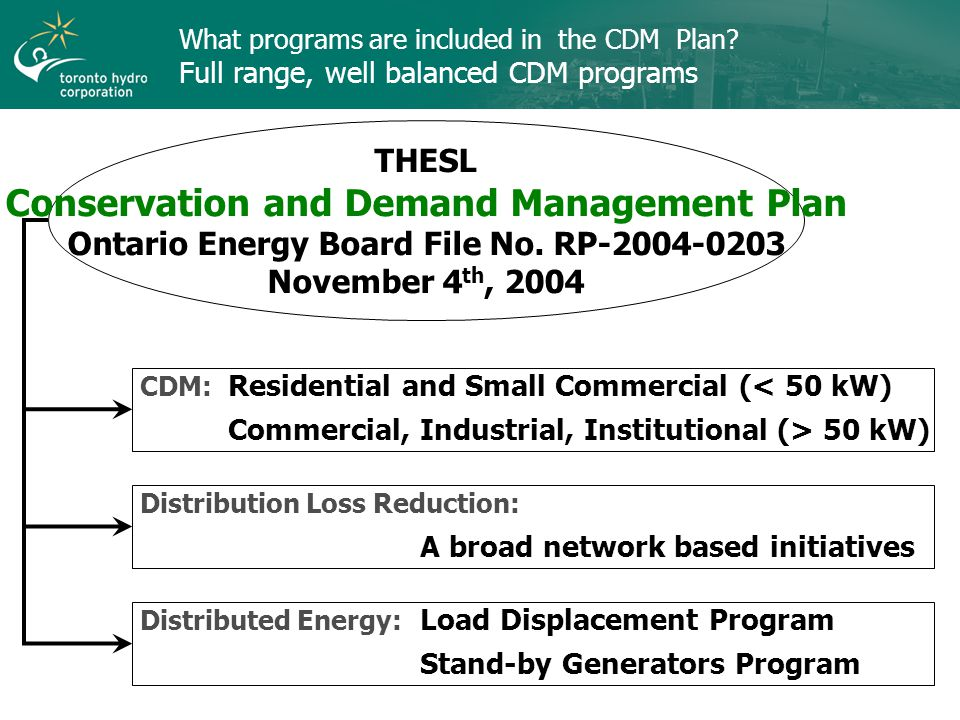What programs are included in the CDM Plan.