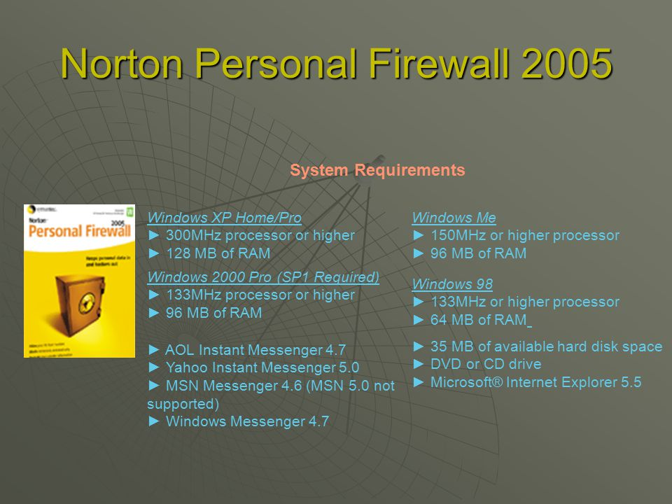 Norton Personal Firewall 2005 Windows XP Home/Pro ► 300MHz processor or higher ► 128 MB of RAM System Requirements Windows Me ► 150MHz or higher processor ► 96 MB of RAM Windows 98 ► 133MHz or higher processor ► 64 MB of RAM Windows 2000 Pro (SP1 Required) ► 133MHz processor or higher ► 96 MB of RAM ► 35 MB of available hard disk space ► DVD or CD drive ► Microsoft® Internet Explorer 5.5 ► AOL Instant Messenger 4.7 ► Yahoo Instant Messenger 5.0 ► MSN Messenger 4.6 (MSN 5.0 not supported) ► Windows Messenger 4.7