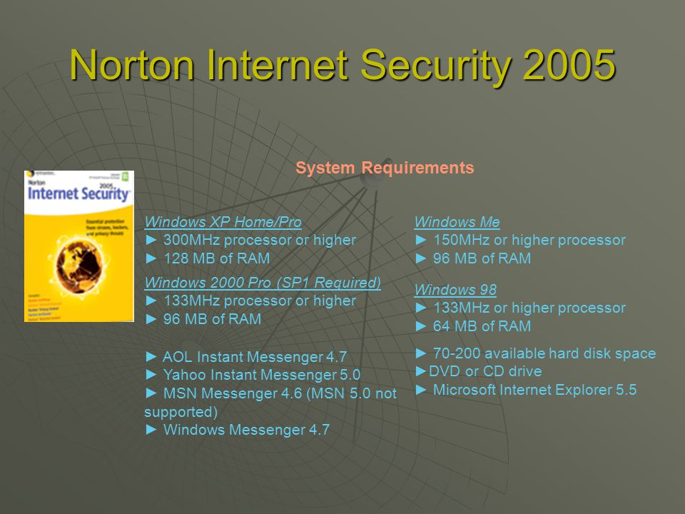 Norton Internet Security 2005 Windows XP Home/Pro ► 300MHz processor or higher ► 128 MB of RAM System Requirements Windows Me ► 150MHz or higher processor ► 96 MB of RAM Windows 98 ► 133MHz or higher processor ► 64 MB of RAM Windows 2000 Pro (SP1 Required) ► 133MHz processor or higher ► 96 MB of RAM ► available hard disk space ►DVD or CD drive ► Microsoft Internet Explorer 5.5 ► AOL Instant Messenger 4.7 ► Yahoo Instant Messenger 5.0 ► MSN Messenger 4.6 (MSN 5.0 not supported) ► Windows Messenger 4.7