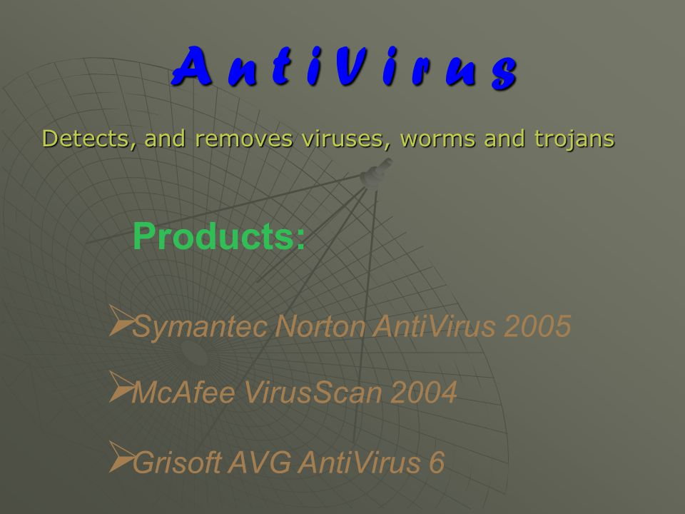 A n t i V i r u s Detects, and removes viruses, worms and trojans Products:  Symantec Norton AntiVirus 2005  McAfee VirusScan 2004  Grisoft AVG AntiVirus 6