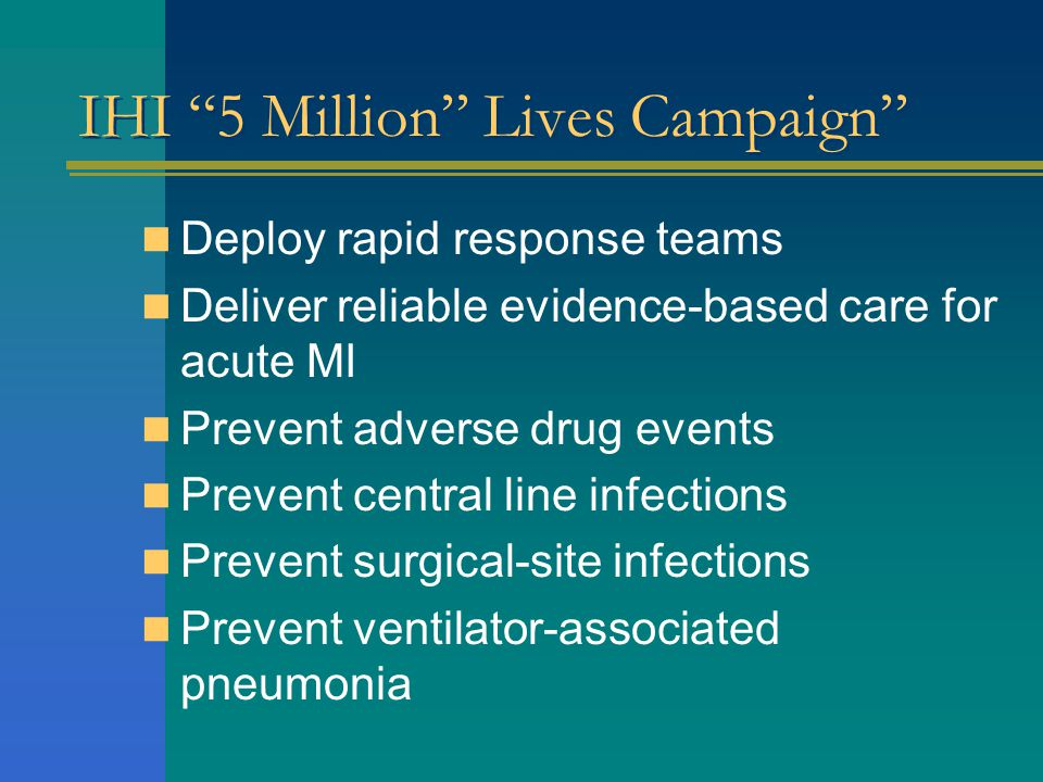 IHI 5 Million Lives Campaign Deploy rapid response teams Deliver reliable evidence-based care for acute MI Prevent adverse drug events Prevent central line infections Prevent surgical-site infections Prevent ventilator-associated pneumonia