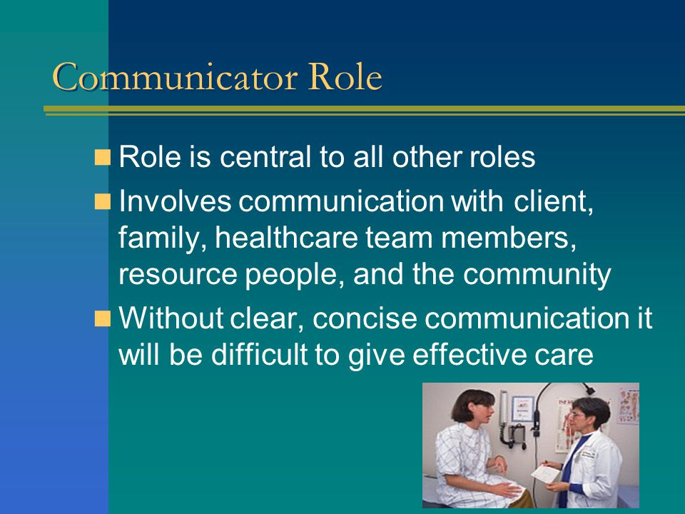 Communicator Role Role is central to all other roles Involves communication with client, family, healthcare team members, resource people, and the community Without clear, concise communication it will be difficult to give effective care