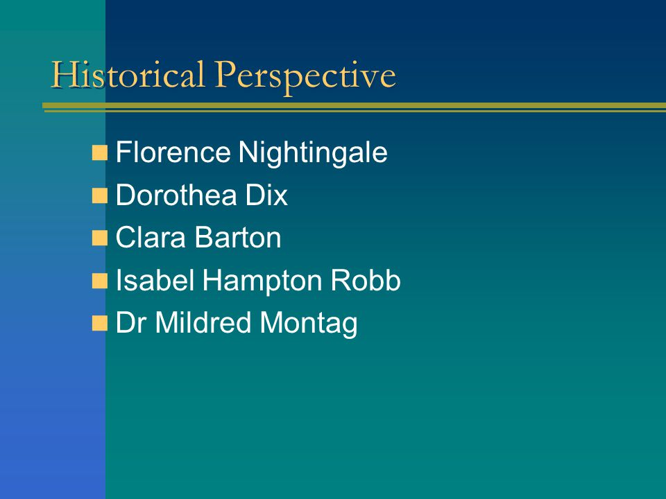 Historical Perspective Florence Nightingale Dorothea Dix Clara Barton Isabel Hampton Robb Dr Mildred Montag