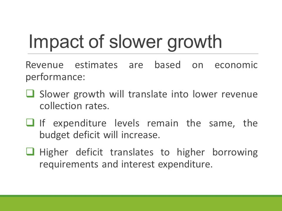 Impact of slower growth Revenue estimates are based on economic performance:  Slower growth will translate into lower revenue collection rates.