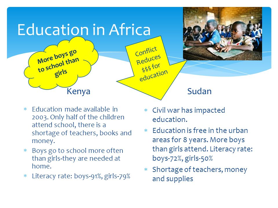 Education in Africa Kenya  Education made available in 2003.
