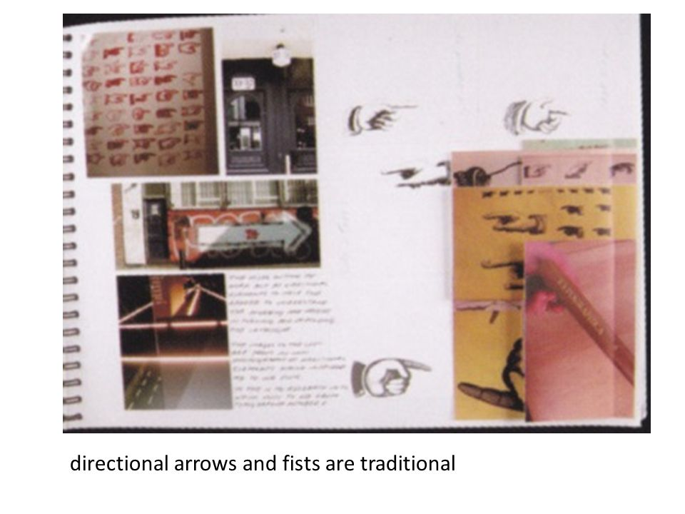 directional arrows and fists are traditional