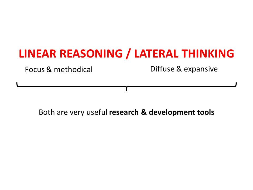 LINEAR REASONING / LATERAL THINKING Focus & methodical Diffuse & expansive Both are very useful research & development tools