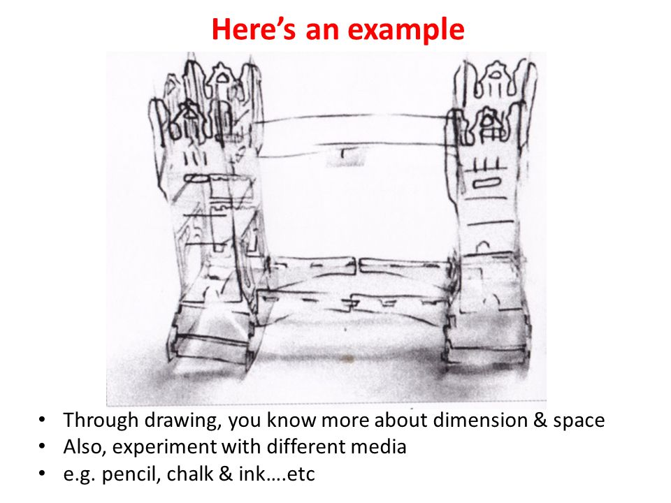 Here's an example Through drawing, you know more about dimension & space Also, experiment with different media e.g.