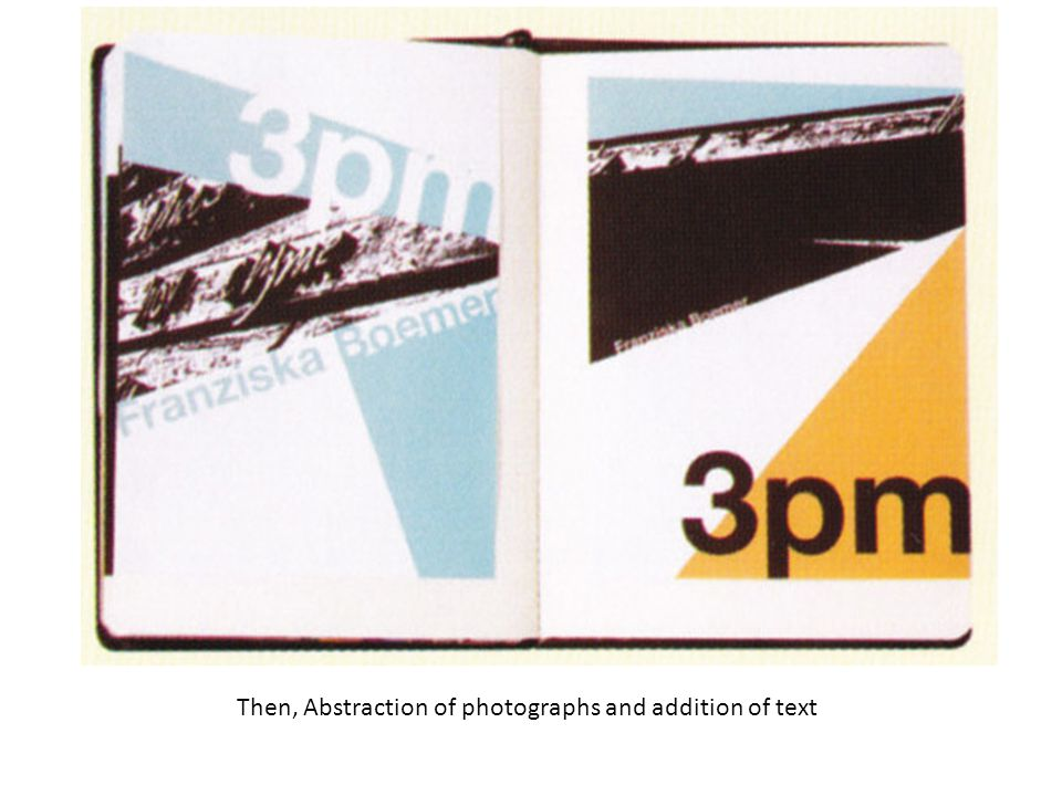 Then, Abstraction of photographs and addition of text