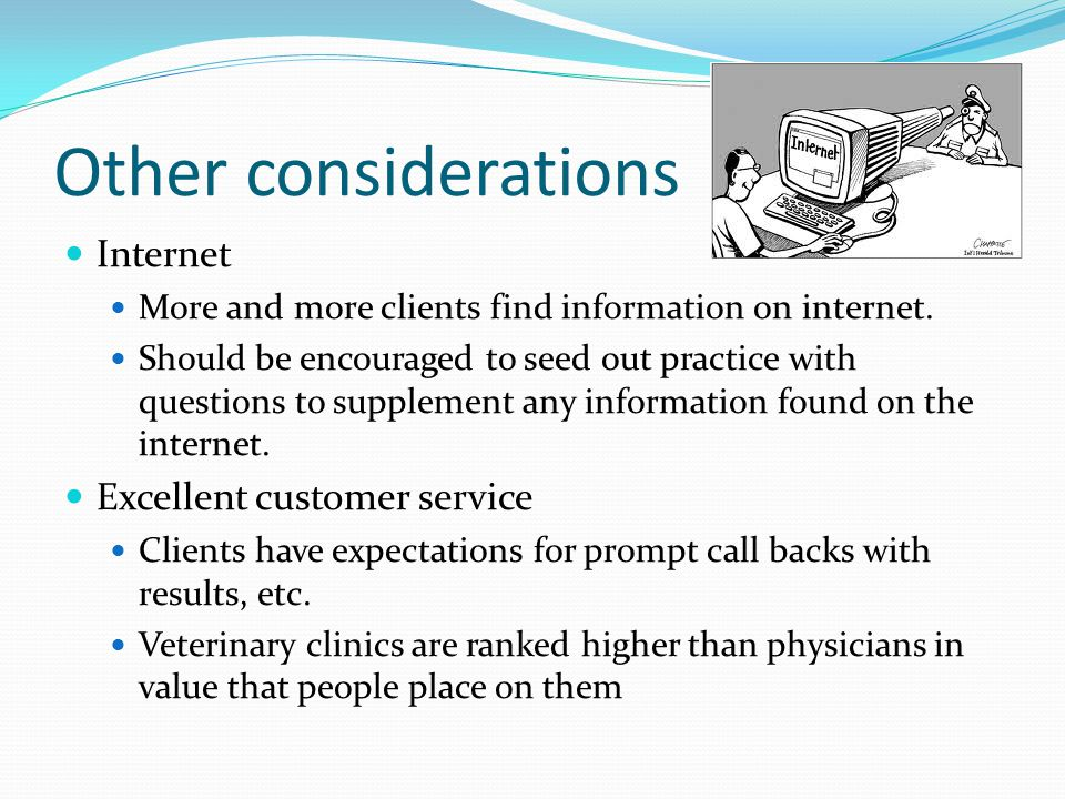 Other considerations Internet More and more clients find information on internet.