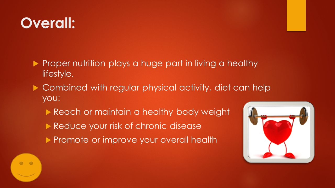 Overall:  Proper nutrition plays a huge part in living a healthy lifestyle.