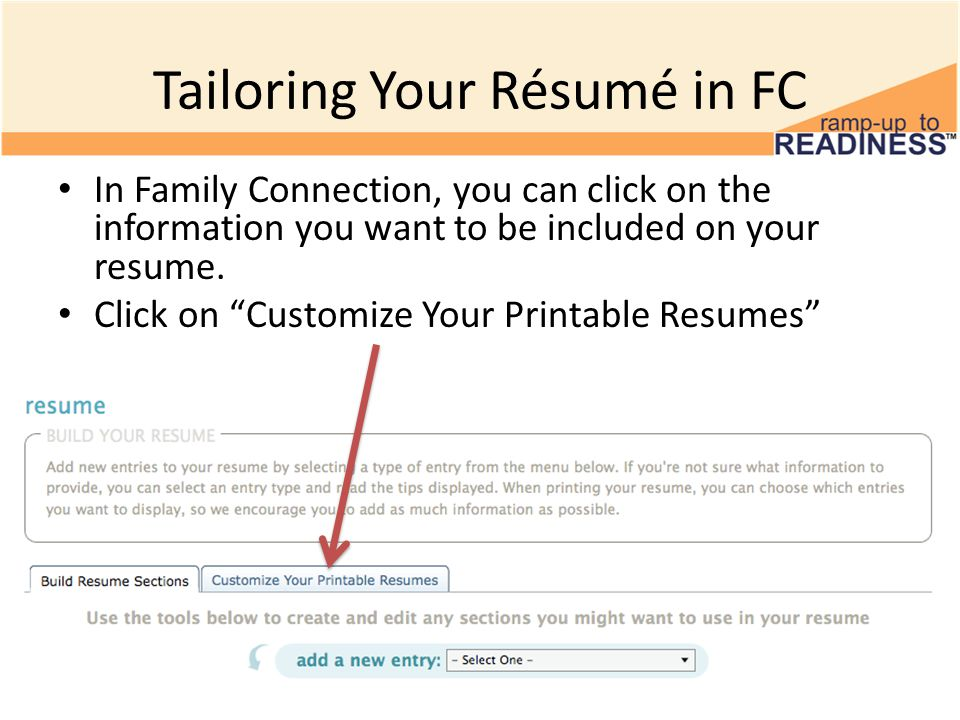 creating a résumé in family connection 10 th grade resumes ppt