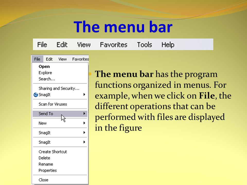 The menu bar The menu bar has the program functions organized in menus.
