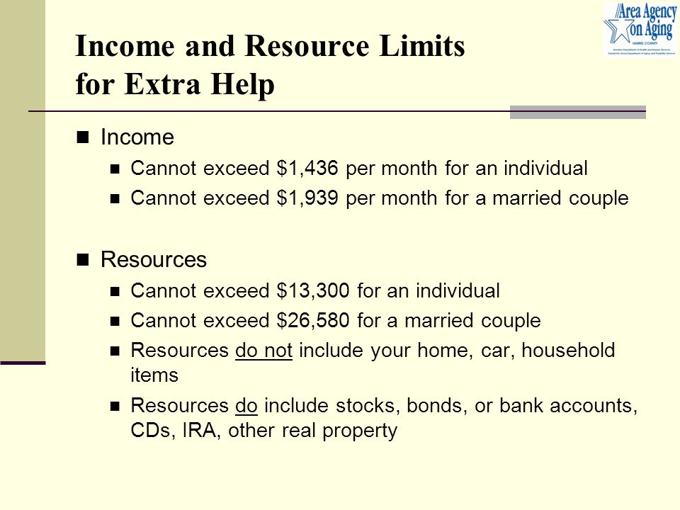 Income and Resource Limits for Extra Help Income Cannot exceed $1,436 per month for an individual Cannot exceed $1,939 per month for a married couple Resources Cannot exceed $13,300 for an individual Cannot exceed $26,580 for a married couple Resources do not include your home, car, household items Resources do include stocks, bonds, or bank accounts, CDs, IRA, other real property