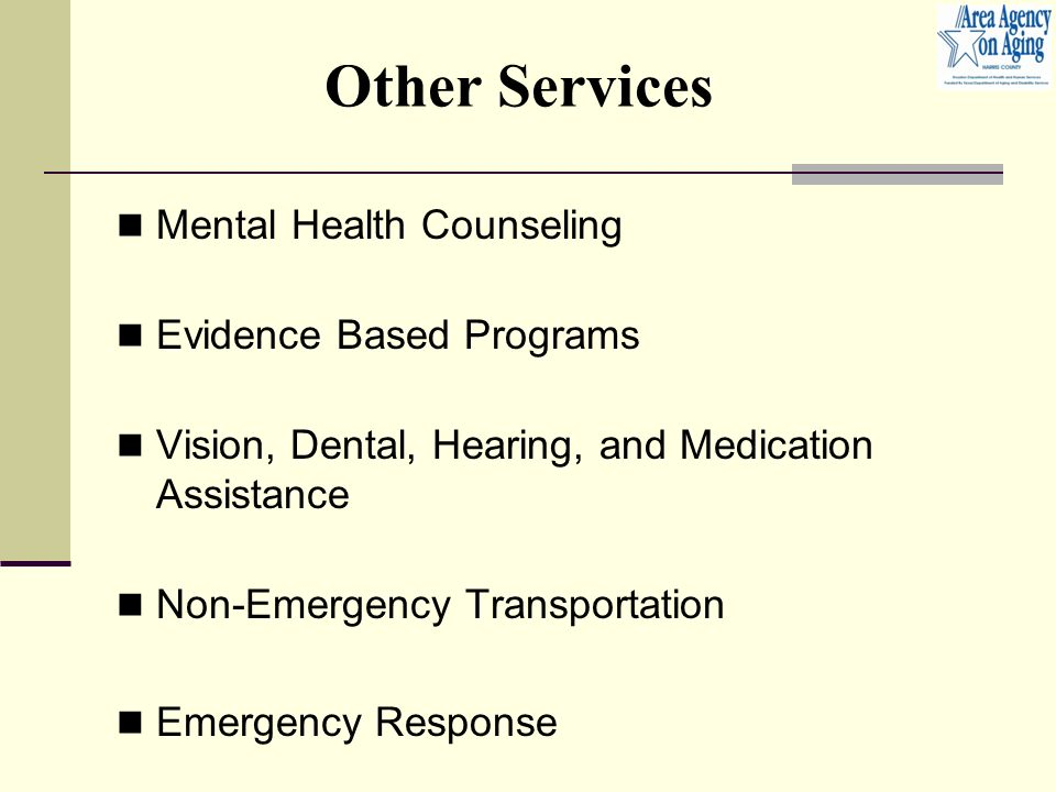 Other Services Mental Health Counseling Evidence Based Programs Vision, Dental, Hearing, and Medication Assistance Non-Emergency Transportation Emergency Response