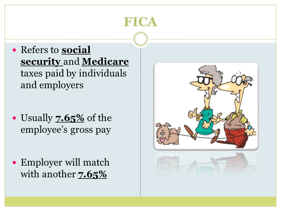FICA Refers to social security and Medicare taxes paid by individuals and employers Usually 7.65% of the employee's gross pay Employer will match with another 7.65%