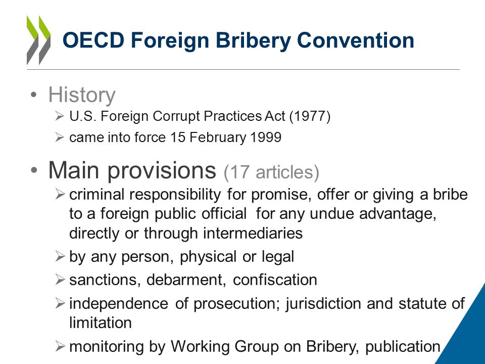 OECD Foreign Bribery Convention History  U.S.