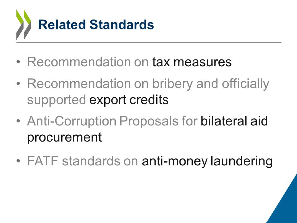 Related Standards Recommendation on tax measures Recommendation on bribery and officially supported export credits Anti-Corruption Proposals for bilateral aid procurement FATF standards on anti-money laundering