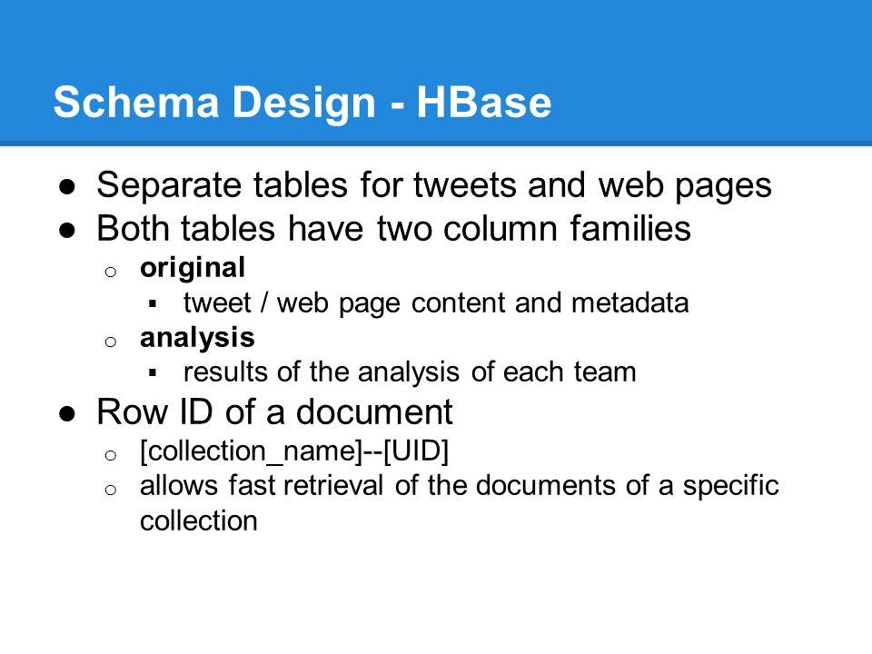 Schema Design - HBase ●Separate tables for tweets and web pages ●Both tables have two column families o original  tweet / web page content and metadata o analysis  results of the analysis of each team ●Row ID of a document o [collection_name]--[UID] o allows fast retrieval of the documents of a specific collection