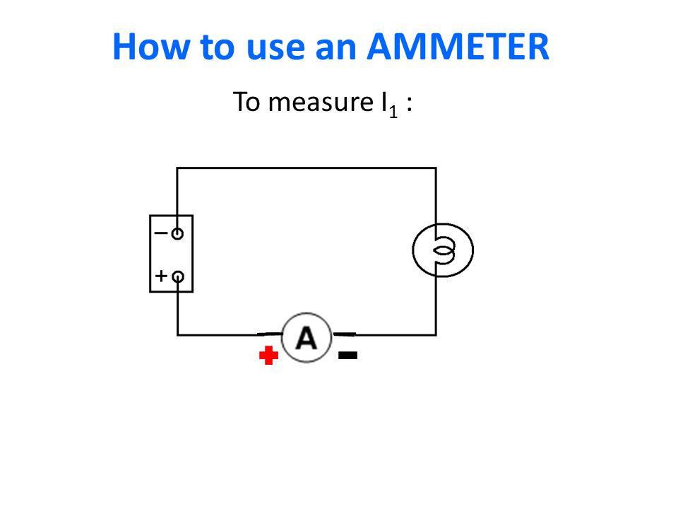 How to use an AMMETER I1I1 To measure I 1 :