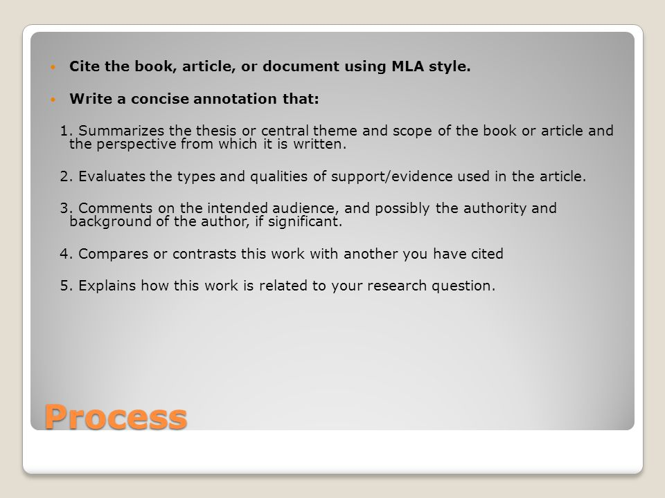 Process Cite the book, article, or document using MLA style.