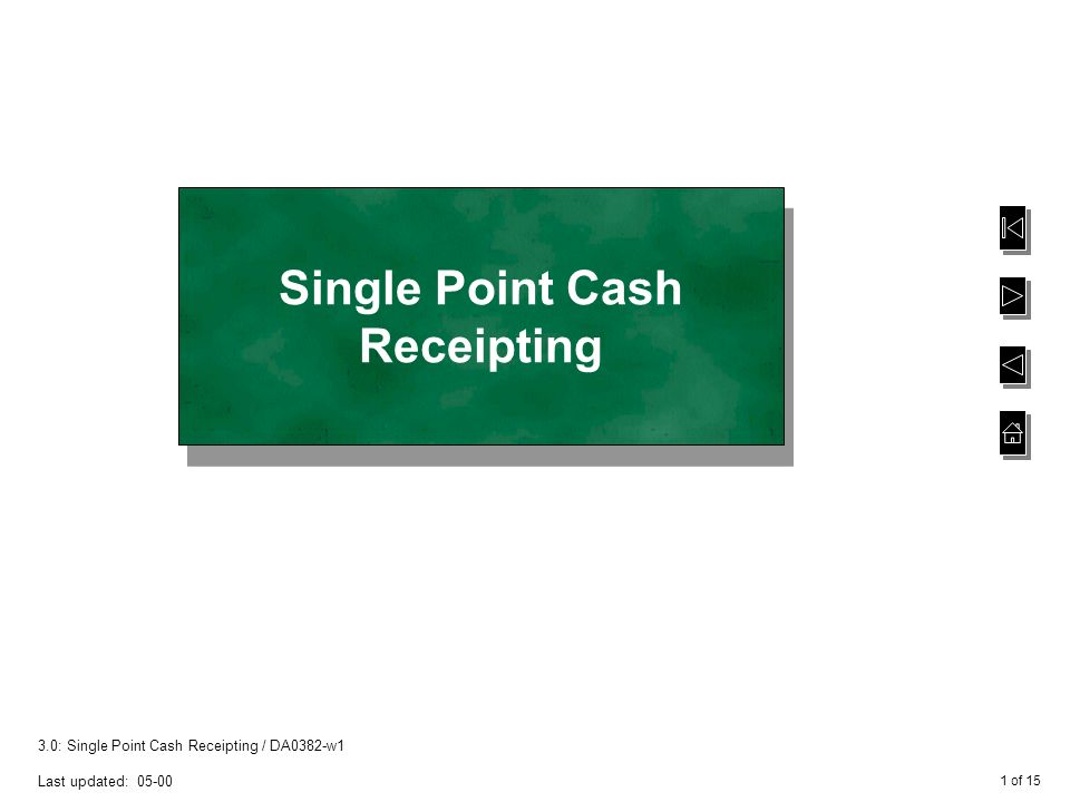 1 of single point cash receipting da0382 w1 last updated single