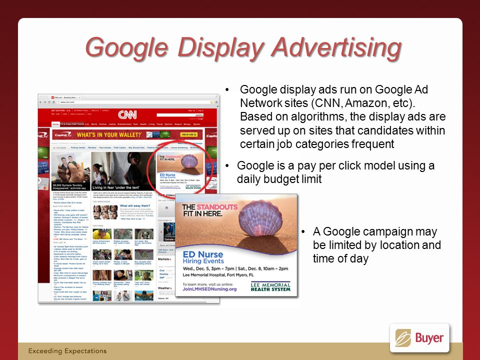 Google display ads run on Google Ad Network sites (CNN, Amazon, etc).