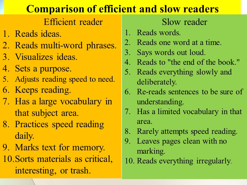 Comparison of efficient and slow readers Efficient reader 1.Reads ideas.
