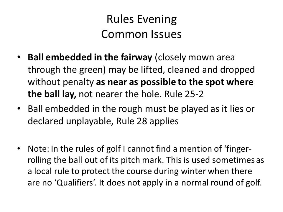 Crondon Park Gc Golf Rules Evening 14 Th January Ppt Download