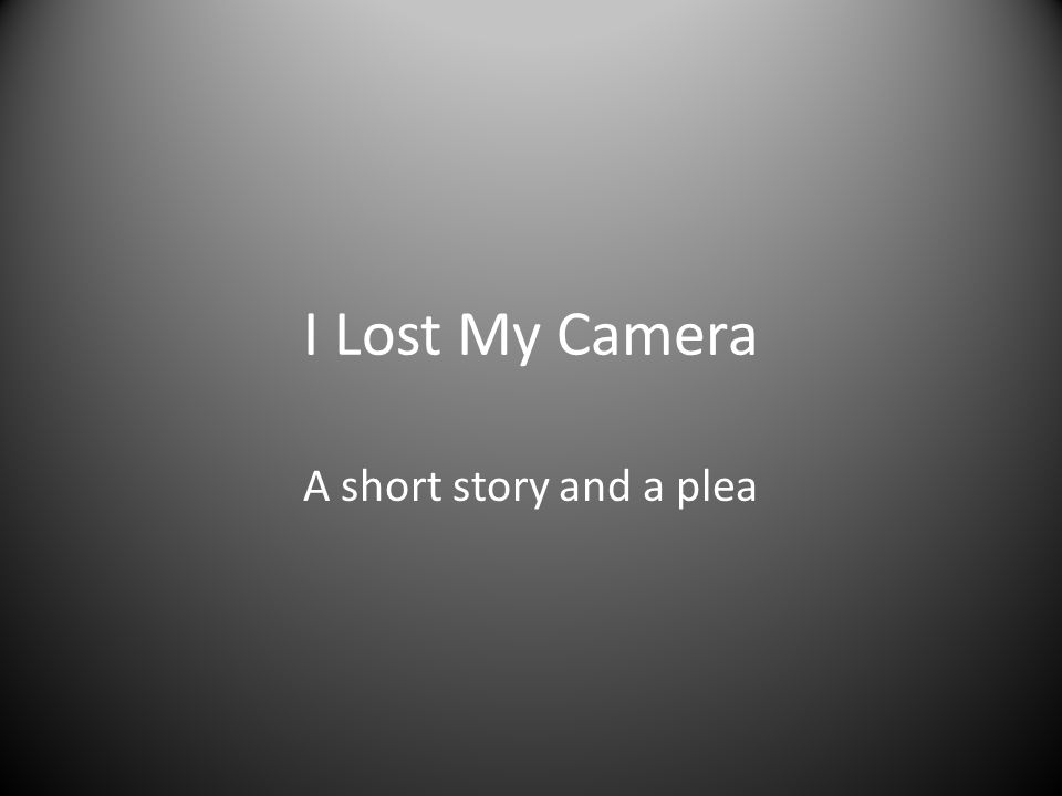 I Lost My Camera A short story and a plea