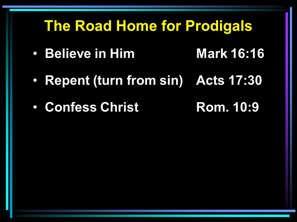The Road Home for Prodigals Believe in HimMark 16:16 Repent (turn from sin)Acts 17:30 Confess ChristRom.