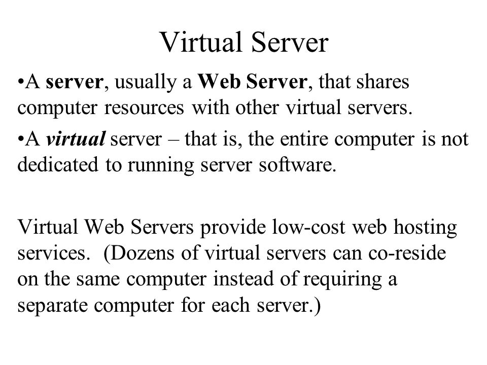 Server Types Different Servers Do Different Jobs Proxy Servers Mail