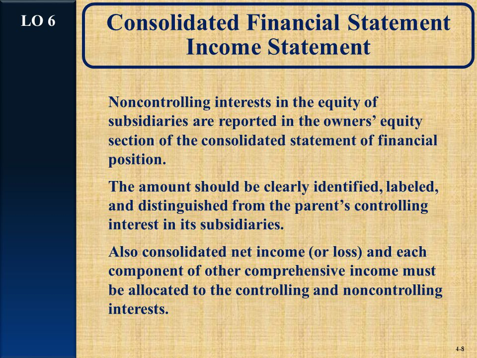 Consolidated Financial Statement Income Statement Noncontrolling interests in the equity of subsidiaries are reported in the owners' equity section of the consolidated statement of financial position.