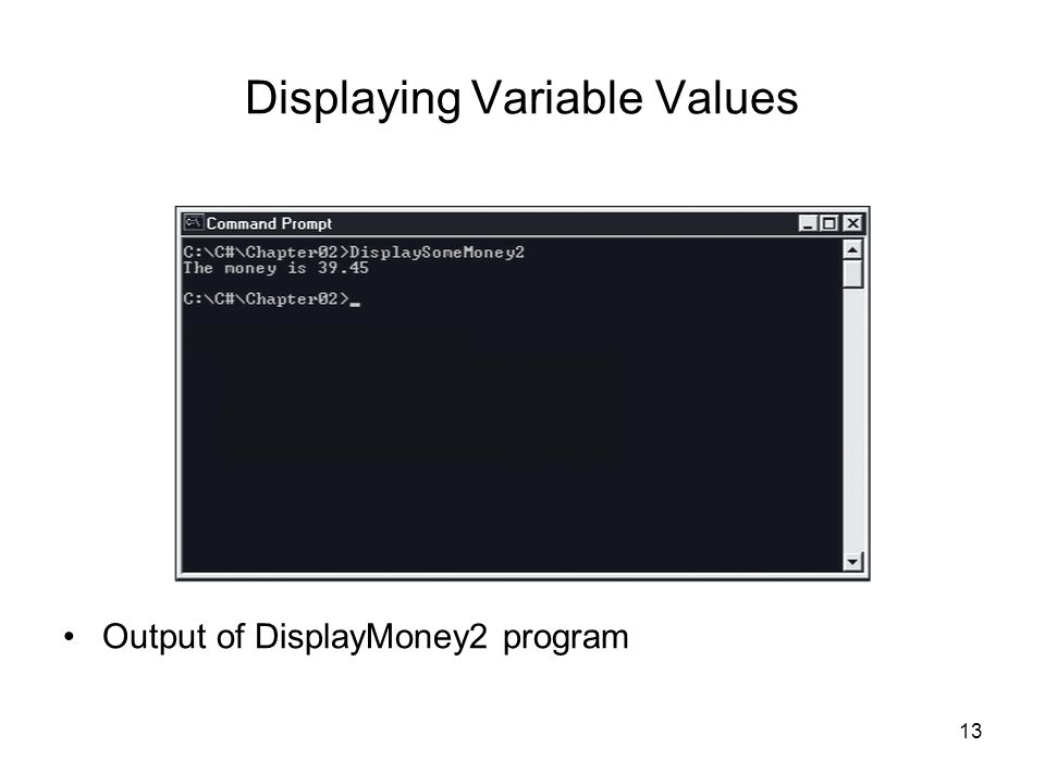 13 Displaying Variable Values Output of DisplayMoney2 program