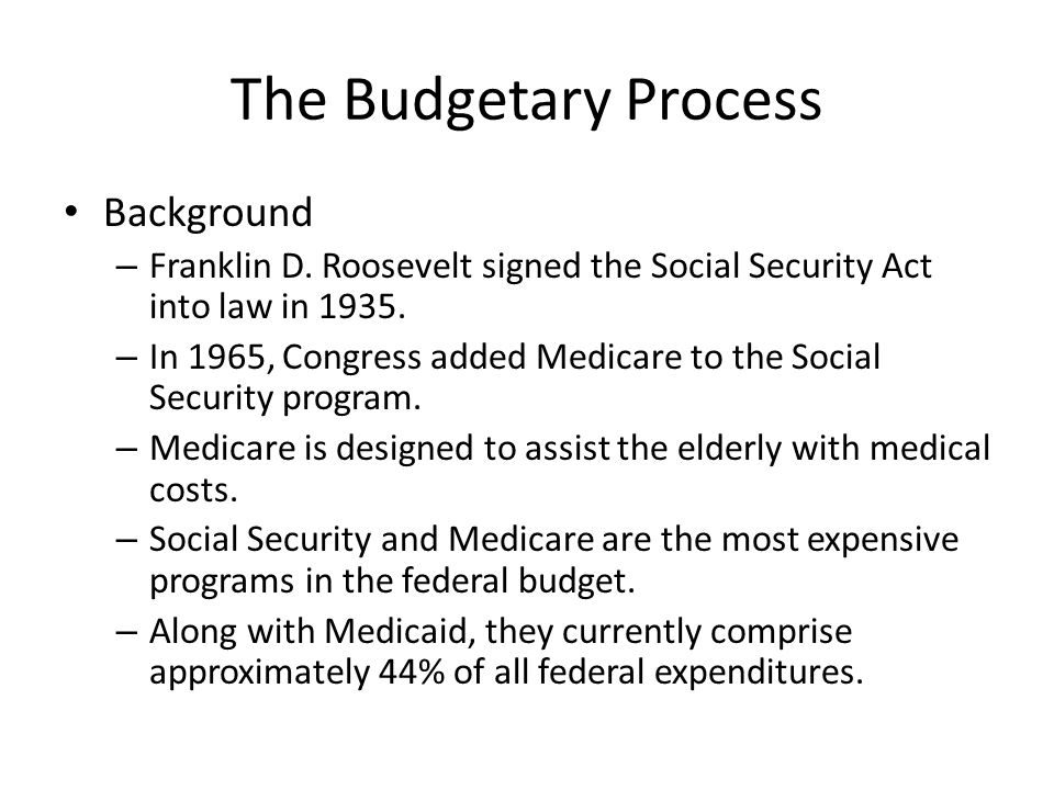 The Budgetary Process Background – Franklin D.