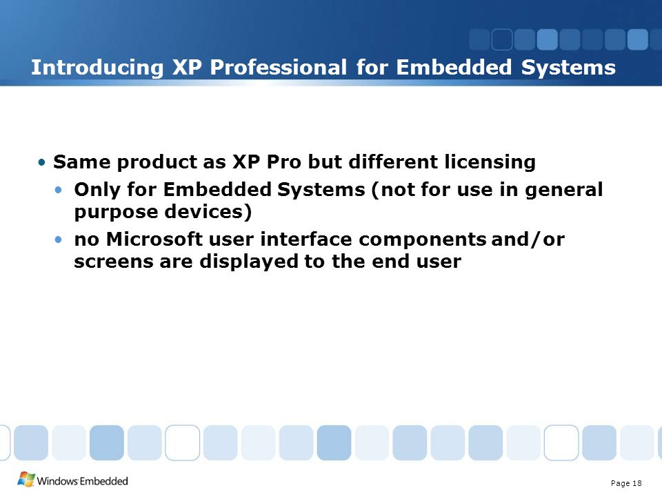 Microsoft ® Windows ® Embedded XP Overview Szanya Zsolt