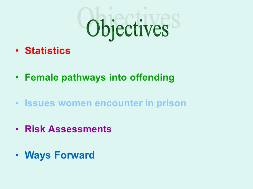 Statistics Female pathways into offending Issues women encounter in prison Risk Assessments Ways Forward
