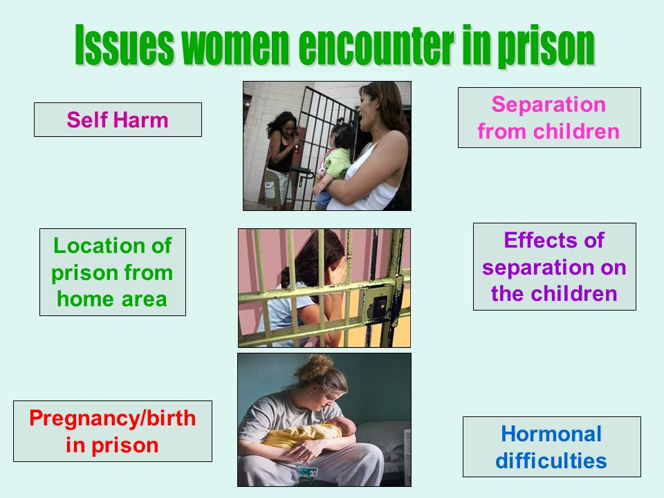 Self Harm Separation from children Location of prison from home area Effects of separation on the children Pregnancy/birth in prison Hormonal difficulties